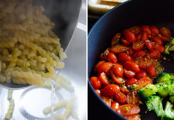 Healthy Pasta is an easy 30 minute vegetable pasta skillet recipe with pesto, tomato, broccoli and Parmesan cheese. Follow simple video instructions and make tasty dinner even if you don't know how to cook.