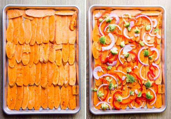sliced sweet potatoes arranged on baking sheet; red pepper, broccoli, red onions arranged on top of sweet potatoes