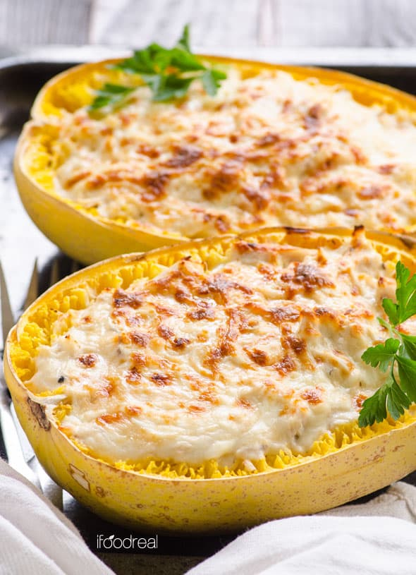 40 Healthy Spaghetti Squash Recipes including casseroles, boats, bowls and pasta, for real life without crazy amount of cheese and weird ingredients. | ifoodreal.com