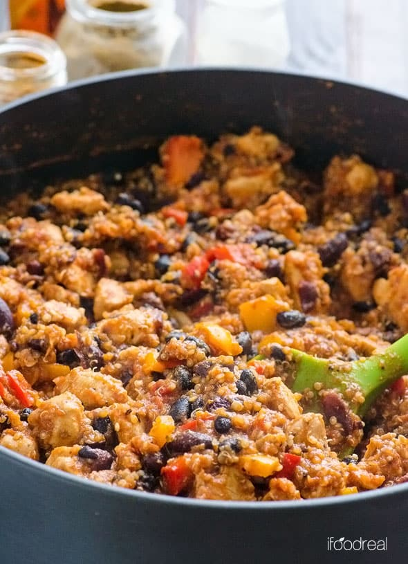 One Pan Quinoa Chicken Chili close-up