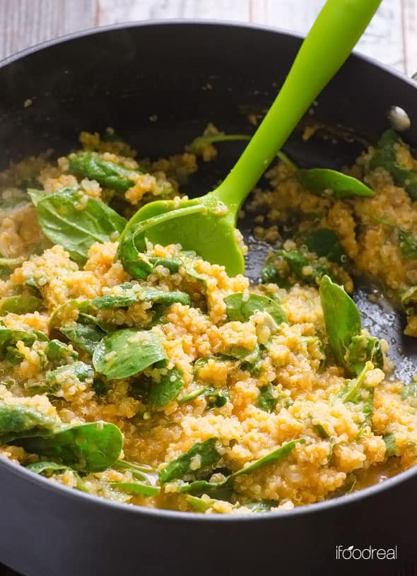 Parmesan Pumpkin and Spinach Quinoa Recipe is a comforting healthy dish with pumpkin puree, cheese, chicken stock and spinach. | ifoodreal.com