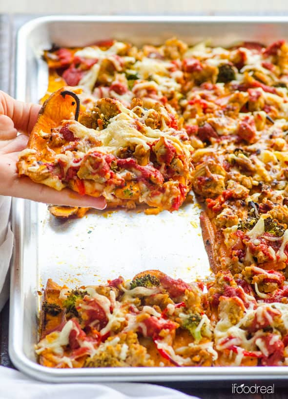 Sweet Potato Pizza Crust Recipe made gluten free with whole foods and requires no food processor. No flour mess either and you can actually hold the slice. | ifoodreal.com