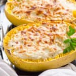 Greek Yogurt Chicken Alfredo Spaghetti Squash Boats