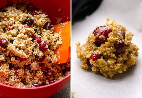 Easy, Healthy and Chewy Cranberry Orange Oatmeal Cookies Recipe with fresh cranberries.
