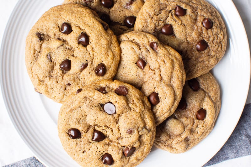 healthy chocolate chip cookies on plate