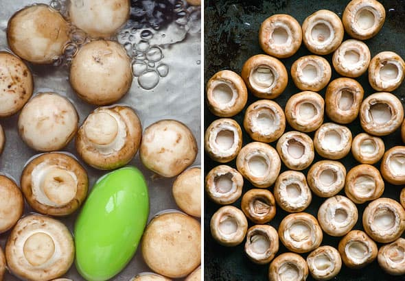 Parmesan Mushrooms are baked mushroom caps with Parmesan cheese, salt and pepper, that's it! Healthy 20 minute appetizer or side dish.