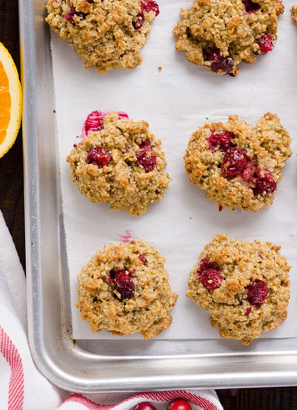 Cranberry Orange Oatmeal Cookies Recipe with oats, almond meal or flour, coconut oil, honey and fresh cranberries for a healthy chewy oatmeal cookies. | ifoodreal.com