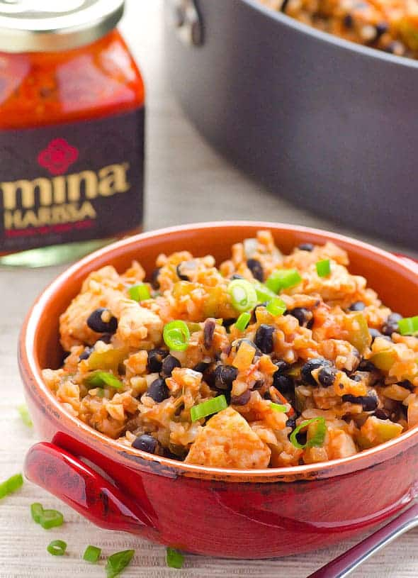 Chicken Cauliflower Rice and Beans Recipe cooked with spicy harissa sauce in one pan. This delicious healthy dinner is ready in 30 minutes.