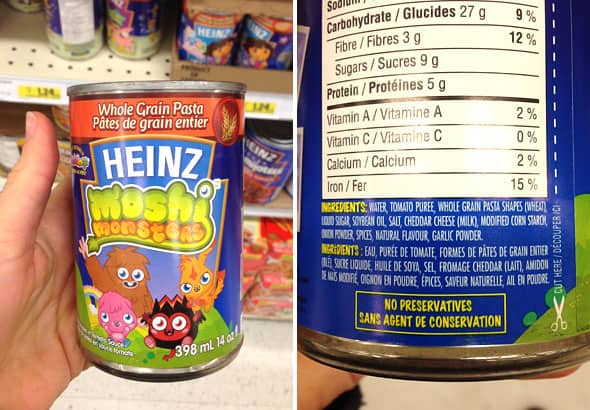 Can of Heinz Moshi Monsters Whole Grain Pasta