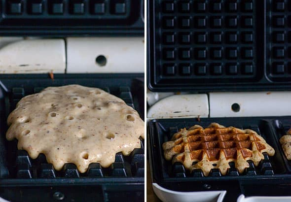 This recipe makes a large batch of freezer friendly Applesauce Waffles made with almonds, oats, maple syrup and applesauce. | ifoodreal.com