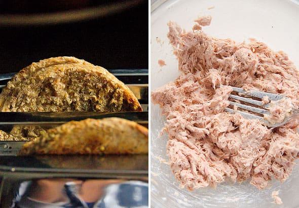 whole grain english muffin in toaster; flaked tuna in a bowl