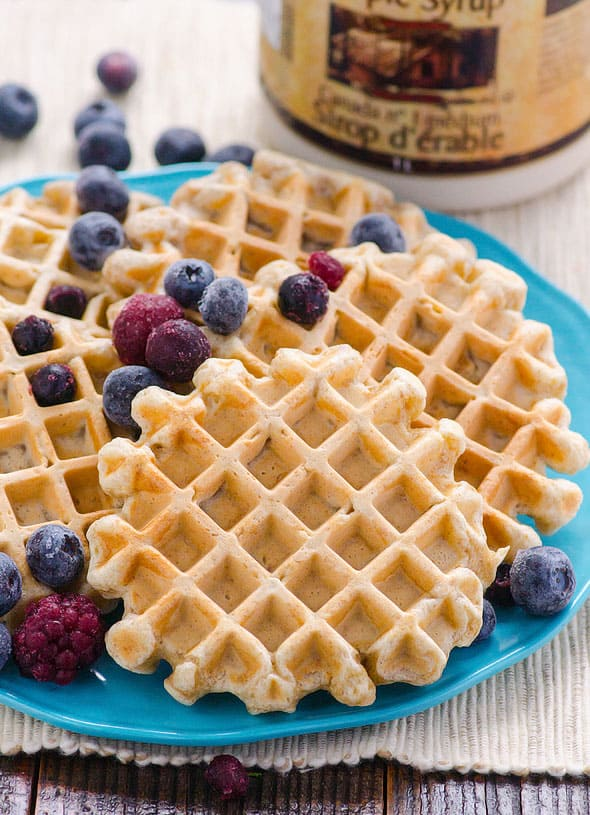 Clean eating waffles made with whole wheat flour and maple syrup. Healthy whole wheat waffles that can be frozen. Double the batch. | ifoodreal.com