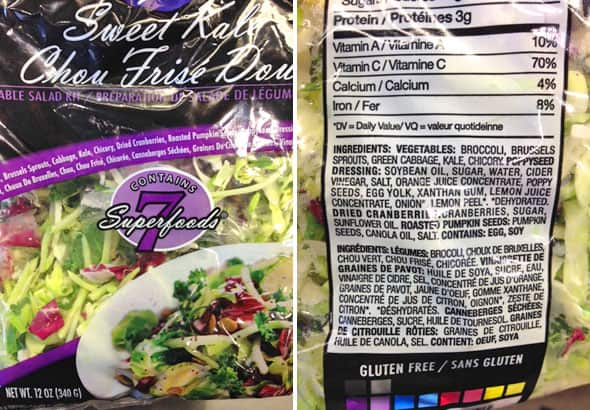 Close-up of Store Bought Sweet Kale salad bag and list of ingredients