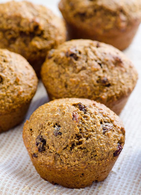 Healthy Oat Bran Muffins Recipe made with applesauce, whole wheat flour, oat bran, raisins and no sugar. | ifoodreal.com