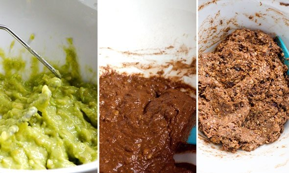 Mashed avocado; brownie ingredients mixed in bowl