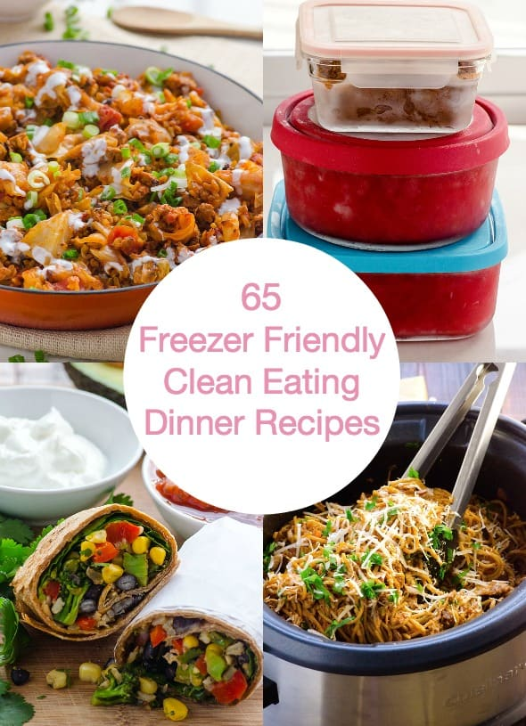 65 Clean Eating Freezer Meals Recipes including 30 and 60 minutes or less soups, casseroles, slow cooker, chicken and vegetarian make ahead meals. Only those that taste delicious and fresh when defrosted are included. | ifoodreal.com