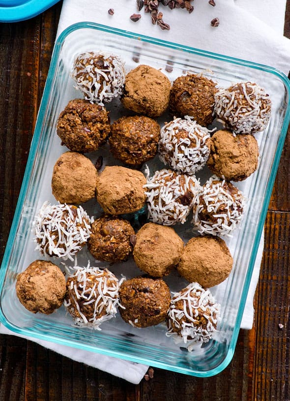 Cacao Nibs Brownie Bites Recipe is crunchy, naturally sweetened, nut free and full of antioxidants healthy snack. Plus ideas how to use cacao nibs.   ifoodreal.com