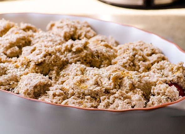 Cobbler assembled in dish; unbaked