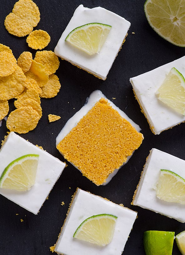 Healthy Key Lime Pie Bars Recipe made easy with coconut milk, coconut oil, maple syrup and gluten free crust, no baking required. | ifoodreal.com