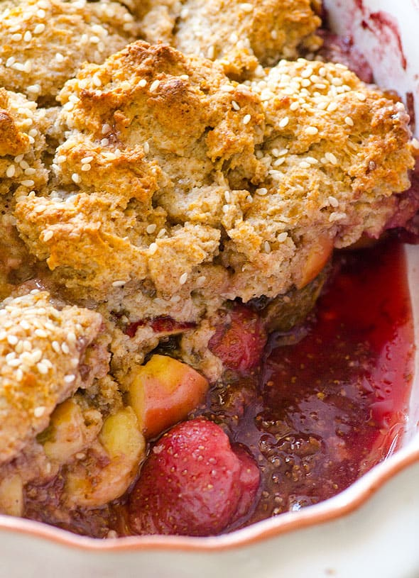 Healthy cobbler recipe made with fruit, whole wheat flour & coconut oil. Healthy twist on a classic to use up abundance of any fruits or berries. | ifoodreal.com