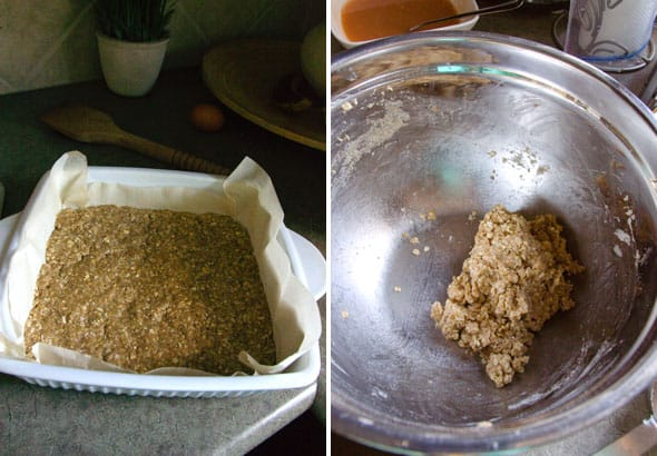 Unbaked ingredients in parchment line pan; bowl of crumble mixture