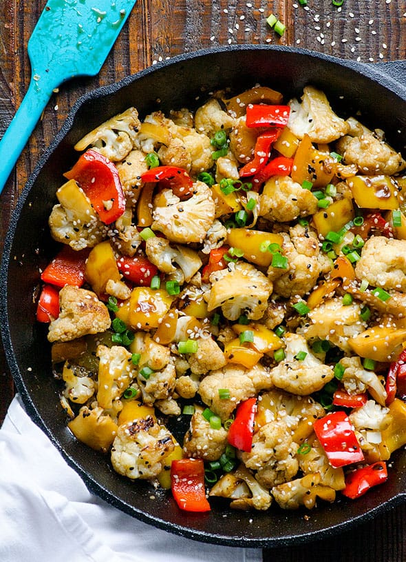 Sesame cauliflower and bell peppers ifoodreal healthy for Cleanest fish to eat