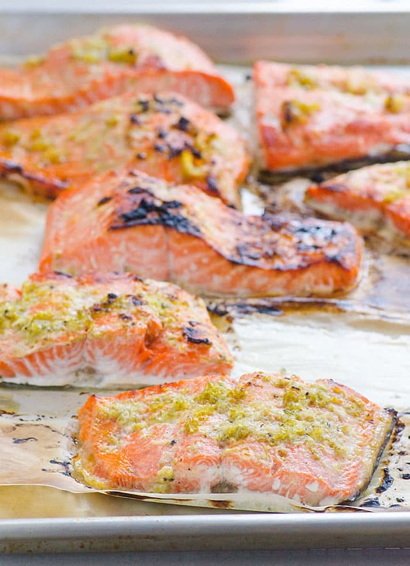 Lime Ginger Salmon recipe marinated in honey, lime juice and ginger, and then quickly broiled to perfection. | ifoodreal.com