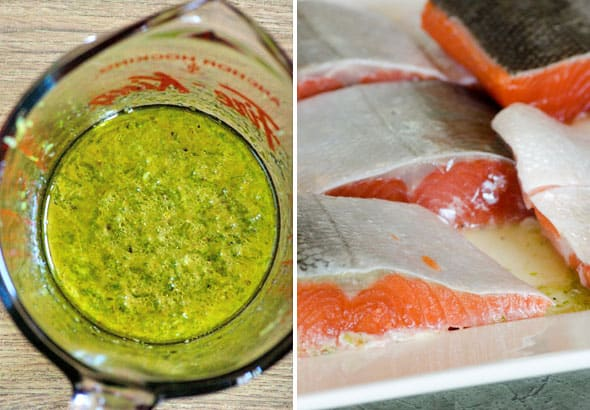 Lime Ginger marinade; pieces of salmon
