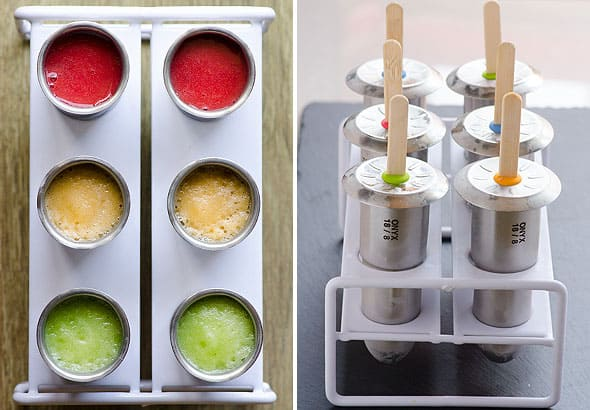 Healthy Homemade Popsicles Recipe -- As bright and colourful as store bought, these 2 ingredient naturally sweetened pops won't ruin your kids health and taste delicious. | ifoodreal.com