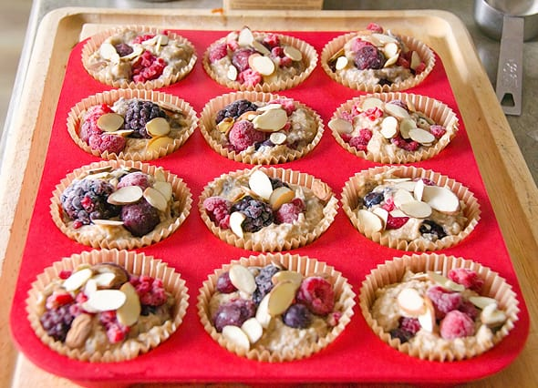 Almond Muffins Recipe made healthy with almond meal, whole wheat flour and fresh or frozen blueberries, cherries or blackberries. They are gone in 1 day every time I bake them. | ifoodreal.com
