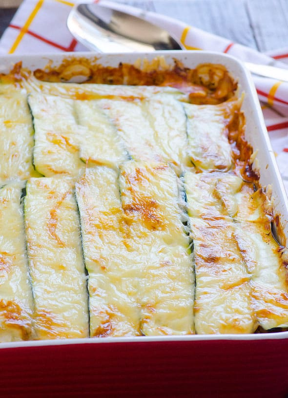 Zucchini Lasagna Recipe with ground turkey meat, sliced zucchini, cottage cheese and made low carb without pasta noodles. | ifoodreal.com