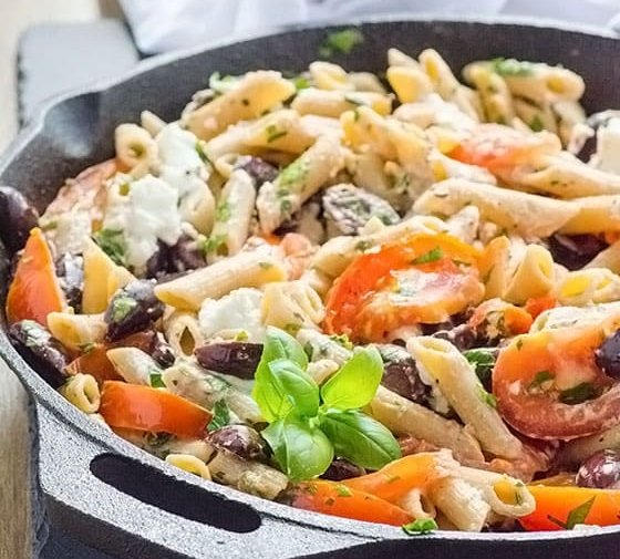 Penne with Kalamata Olives,Tomatoes and Goat Cheese