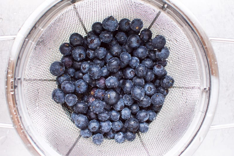 Fresh Blueberries in a Colander for Healthy Blueberry Muffins