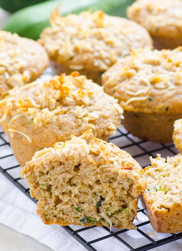 Lemon Zucchini Muffins cut in half and texture shown