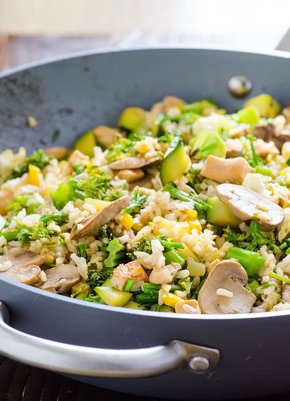 Healthy vegetable, egg and chicken Fried Brown Rice Recipe cooked in one pan. Great to use up an abundance of summer produce or use what you have in winter.