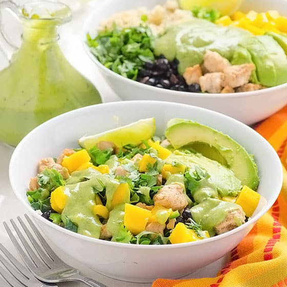 Chicken Quinoa Bowls with Mango and Black Beans