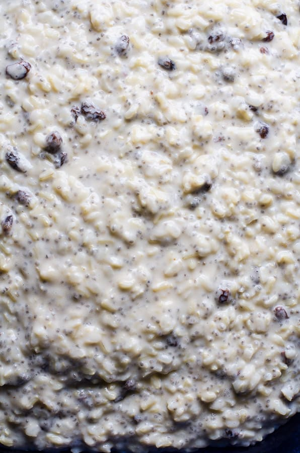 Tired of quinoa and oats for breakfast? Try this Healthy Brown Rice Pudding Recipe for a week of easy breakfasts made with brown rice, almond milk, chia seeds, raisins, frozen fruit, maple syrup and Greek yogurt. | ifoodreal.com