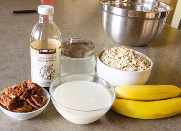 Oats, milk, pecans, bananas, vanilla extract