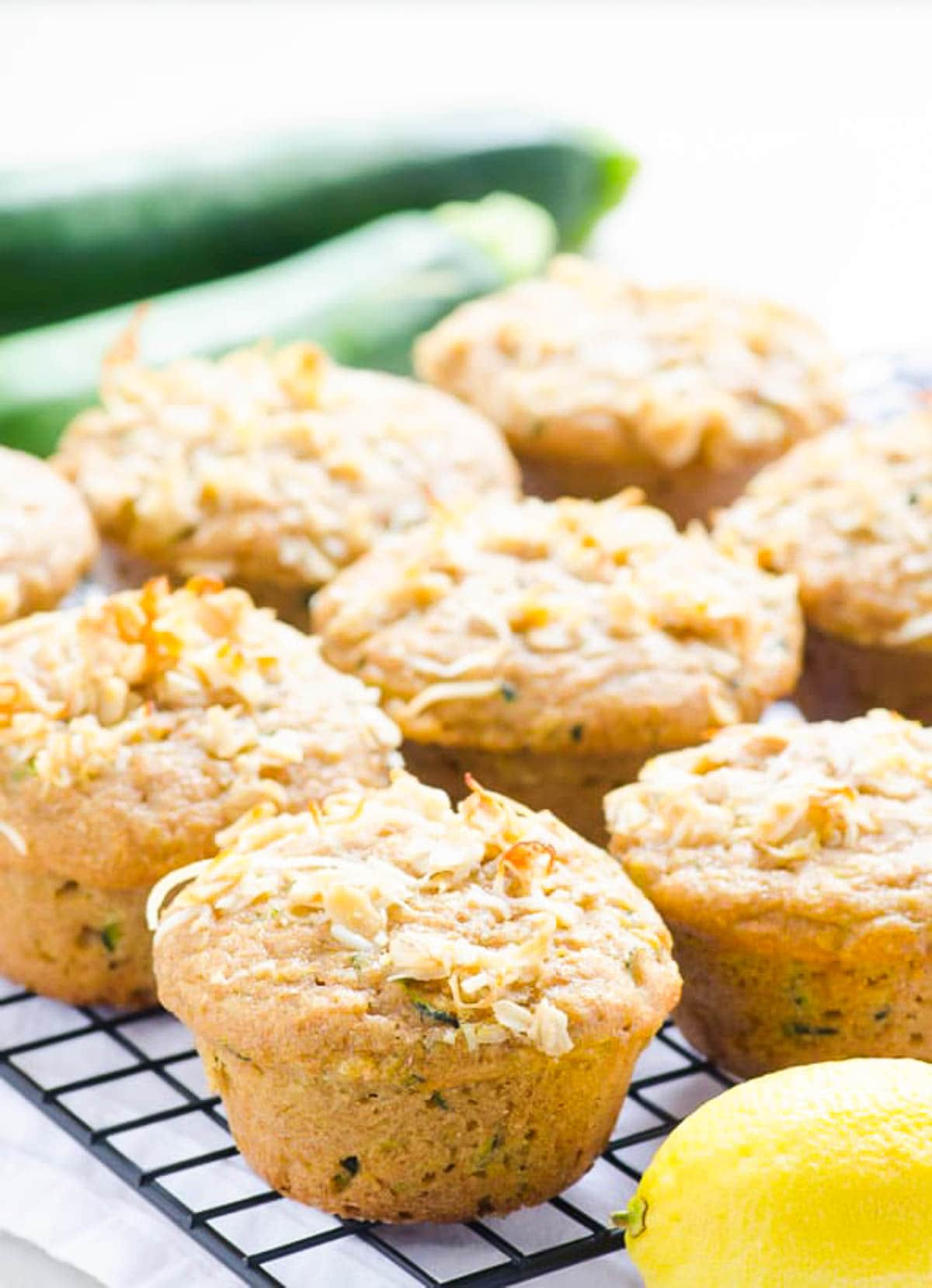Lemon Zucchini Muffins Recipe made healthy with whole wheat flour, plain yogurt, zucchini and no sugar. | ifoodreal.com