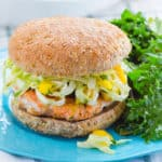 Salmon Burgers with Mango Slaw