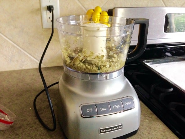 capers, pickles, onion and garlic in a food processor