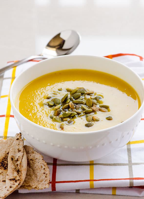 Healthy Easy Pumpkin Soup Recipe made without cream but rather with coconut milk, canned or fresh pumpkin puree, onion, garlic and spices. | ifoodreal.com