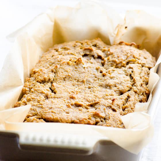 Banana Coconut Flour Bread with Peanut Butter