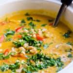 receta de sopa de pollo, quinua, calabaza, calabaza y cocción lenta