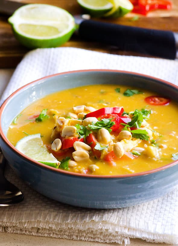 Slow Cooker Butternut Squash Soup Recipe made healthy with coconut milk, quinoa, chicken, peanuts, bell peppers, lime and cilantro. | ifoodreal.com