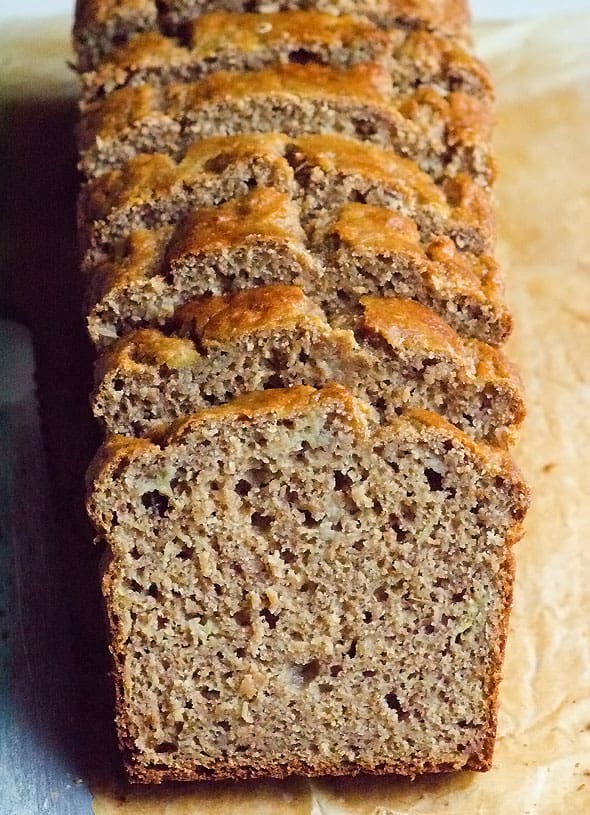 Simple Healthy Banana Bread with applesauce, coconut oil, whole wheat or spelt flour, and honey or maple syrup. Healthy recipe with rave reviews.