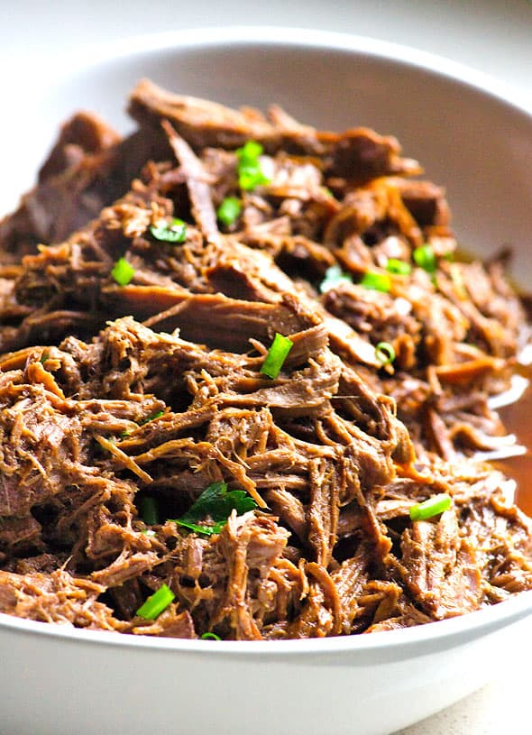 Slow Cooker Balsamic Pot Roast is a healthy roast recipe with beef, balsamic vinegar, beef stock, mustard and soy sauce prepared in a crockpot. | ifoodreal.com