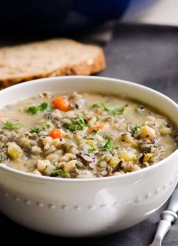Hearty Beef and Bean Soup Recipe with wild rice, beef soup bones and chock full of vegetables. | ifoodreal.com