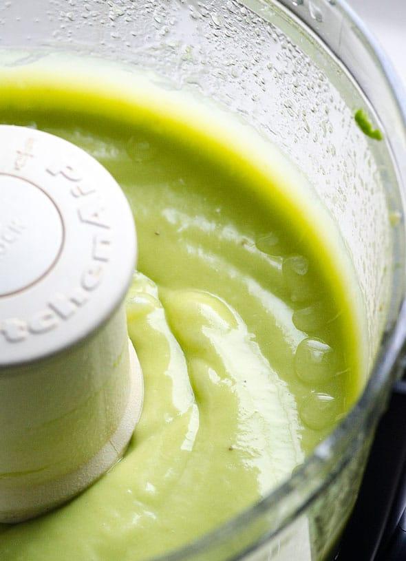 Avocado mint fudge bar ingredients in food processor