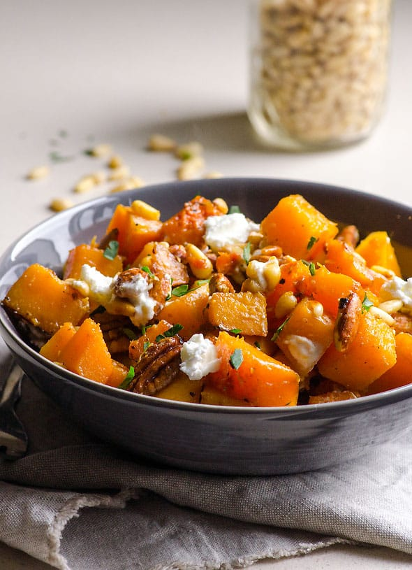 Honey Garlic Butternut Squash served in bowl